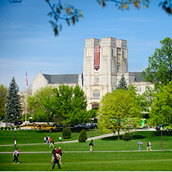 Burruss Hall in spring