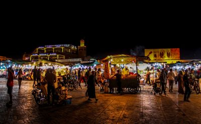 ERIK HARVEY, MARRAKESH, MOROCCO: Hokies explore the night life in Jemaa el-Fnaa, the central square marketplace.