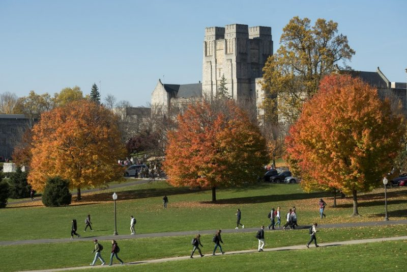 Students walking across the Drillfield in fall